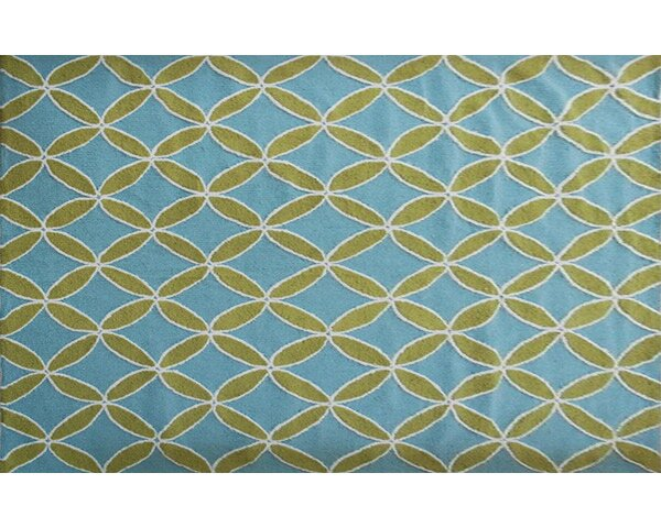 Hutchinson Hand-Hooked Green/Blue Area Rug by Threadbind