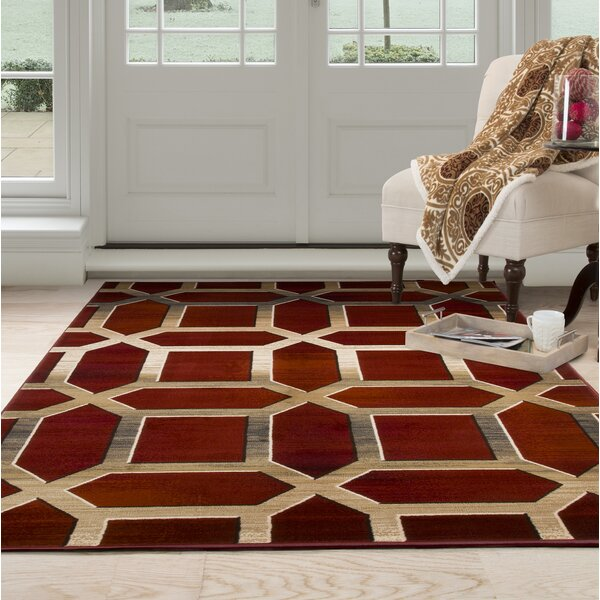 Art Deco Red/Beige Area Rug by Plymouth Home