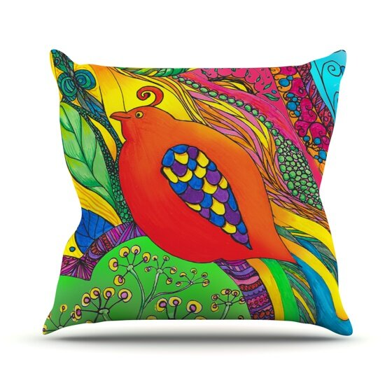 Psycho-Delic Outdoor Throw Pillow by East Urban Home