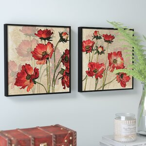 'Bright Flower' 2 Piece Framed Graphic Art Set by Alcott Hill