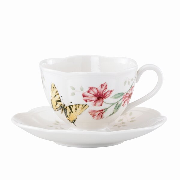 Butterfly Meadow 8 oz. Tiger Swallowtail Teacup and Saucer (Set of 4) by Lenox