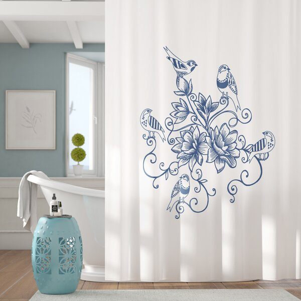 Cecilia Five Little Birds Floral Print Shower Curtain by Lark Manor