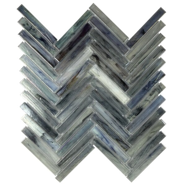 Acuto 11.1 x 11.3 Glass Mosaic Tile in Dark Blue by Byzantin Mosaic