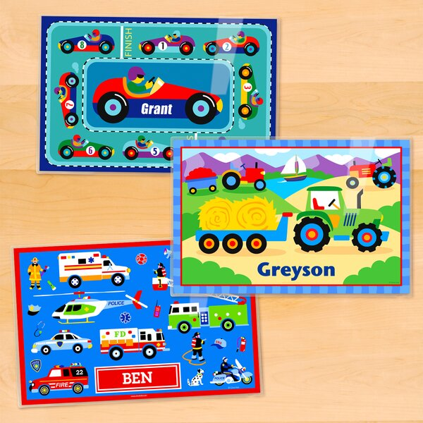 3 Piece Transportation Personalized Placemat Set by Olive Kids