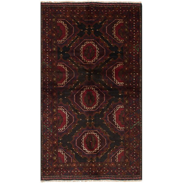One-of-a-Kind Divine Hand-Knotted Wool Red/Black Area Rug by Isabelline