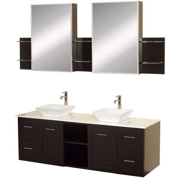 Avara 60 Wall-Mounted Double Bathroom Vanity Set with Mirror