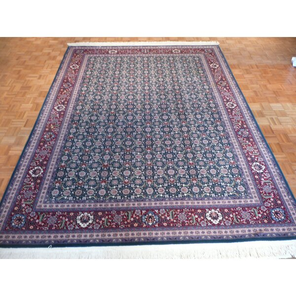 One-of-a-Kind Pellegrino Bijar Hand-Knotted Wool Green Area Rug by Bloomsbury Market