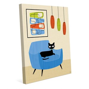 'Retro Cat in Chair' Graphic Art Print on Canvas by Click Wall Art