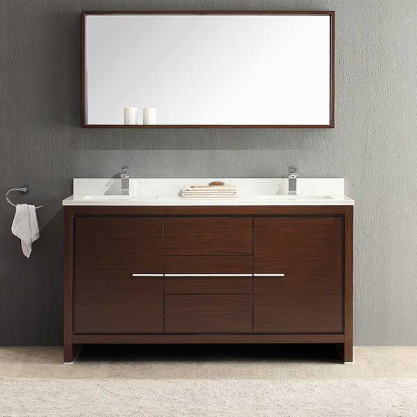 Allier 60 Double Modern Bathroom Vanity Set with Mirror by Fresca