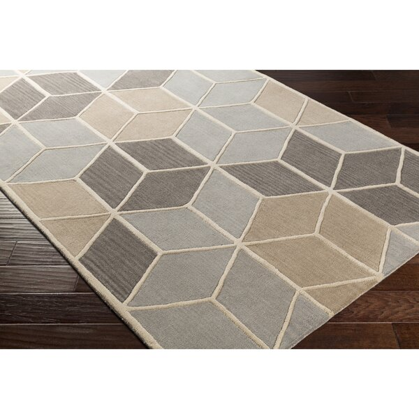 Vaughan Hand-Tufted Rectangle Gray Area Rug by Wrought Studio