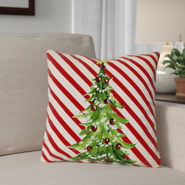Christmas Tree Stripes Throw Pillow by The Holiday Aisle