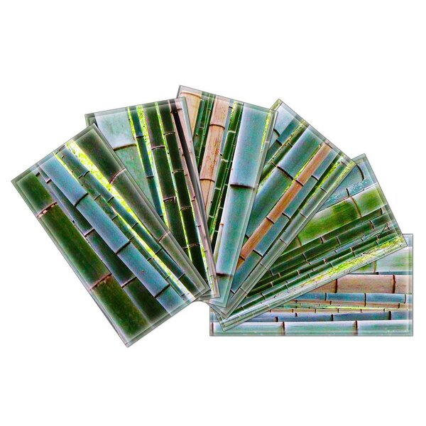 Crystal 3 x 6 Beveled Glass Subway Tile in Blue/Green by Upscale Designs by EMA