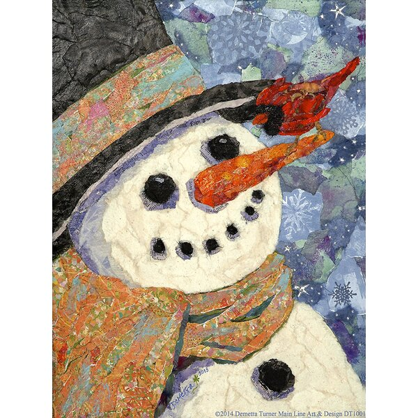 Snowman and Cardinal by Demetra Turner Graphic Art on Wrapped Canvas by Buy Art For Less