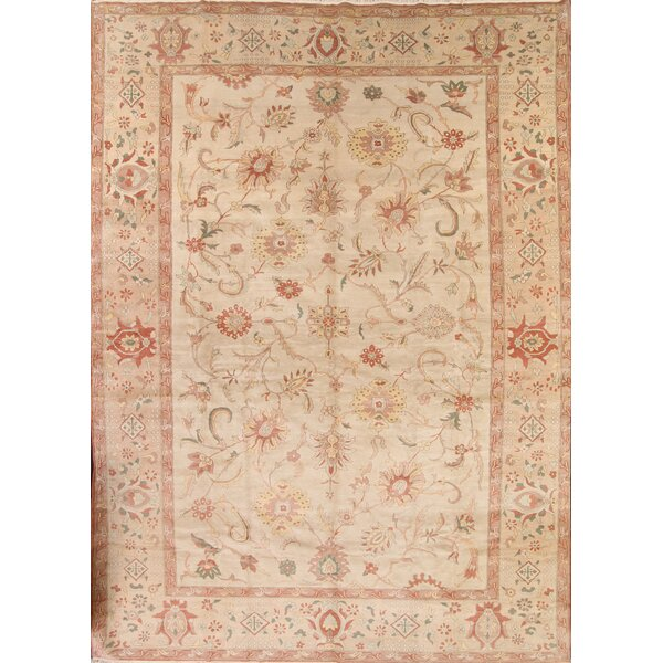 One-of-a-Kind Moncada Oushak Egypt Oriental Hand-Knotted Wool Beige/Ivory Area Rug by August Grove