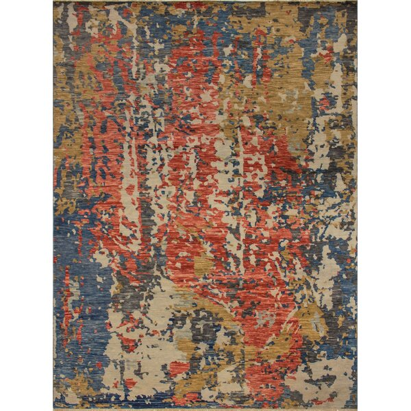 One-of-a-Kind Wobnar Oushak Matheus Hand-Knotted Gold/Red Area Rug by Brayden Studio