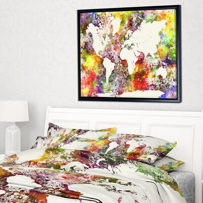 Mistana urban watercolor world map framed on beige canvas world map framed graphic art print on wrapped canvas gumiabroncs Images