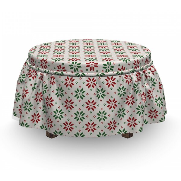 Christmas Norwegian Rose 2 Piece Box Cushion Ottoman Slipcover Set By East Urban Home