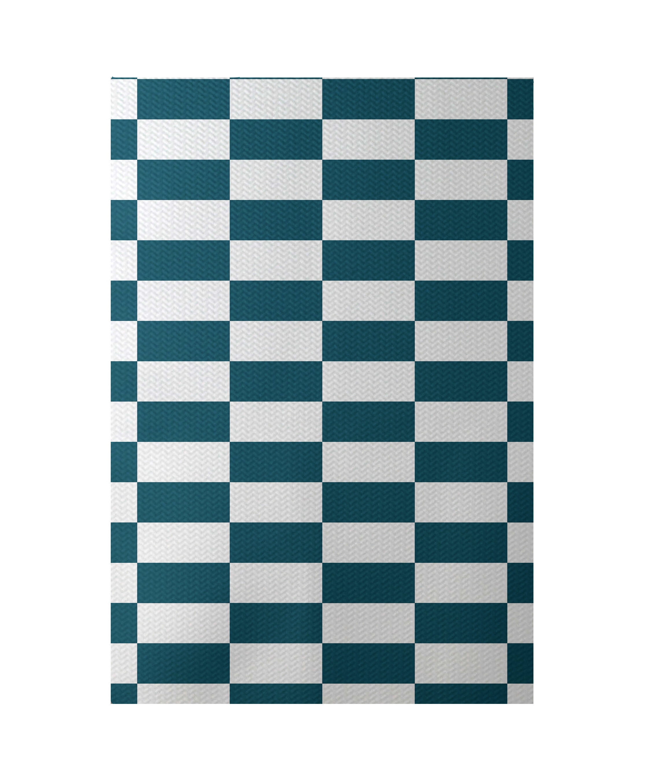 E By Design Plaid Hand-Woven Teal Indoor/Outdoor Area Rug