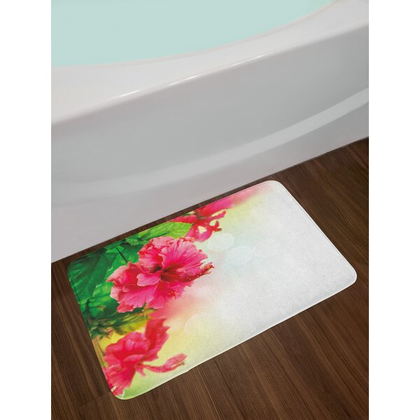 Floral Hibiscus Flower Florets Buds Leaf Essence Fragrance Blossoms Garden Image Non-Slip Plush Bath Rug by East Urban Home