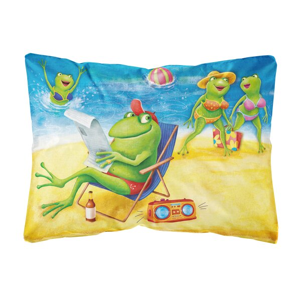 Silvey Frogs on the Beach Fabric Indoor/Outdoor Throw Pillow by Winston Porter