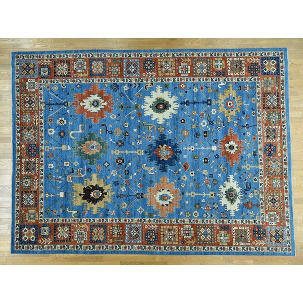 One-of-a-Kind Beaumont With Karajeh Antiqued Design Handwoven Blue Wool Area Rug by Isabelline