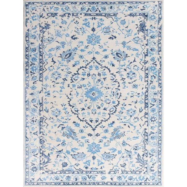 Hadassah Hand-Tufted White/Blue Area Rug by Ophelia & Co.