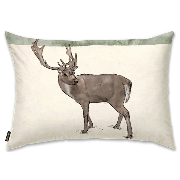 Lone Reindeer Lumbar Pillow by The Holiday Aisle