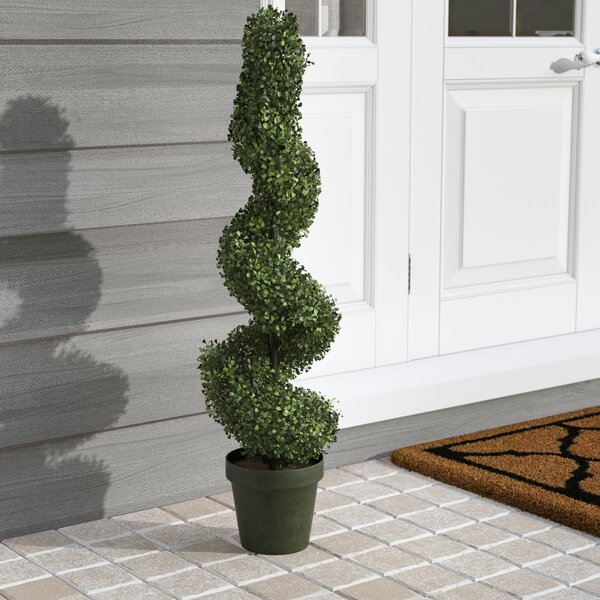 Artificial Boxwood Leave Spiral Topiary Plant in Pot by Charlton Home