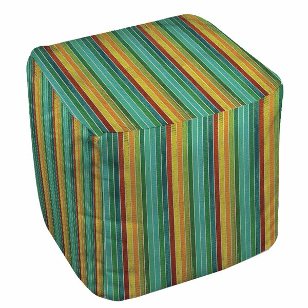 Aqua Bloom Stripes Pouf by Manual Woodworkers & Weavers