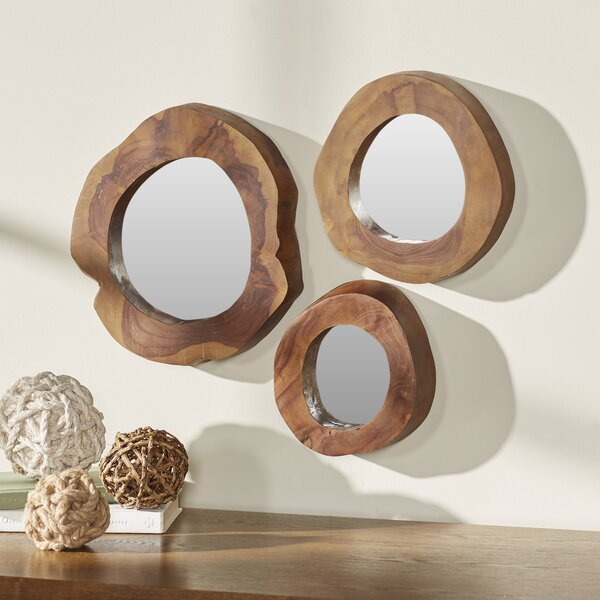 Hoffman 3 Piece Teak Wood Mirror Set by Rosecliff Heights