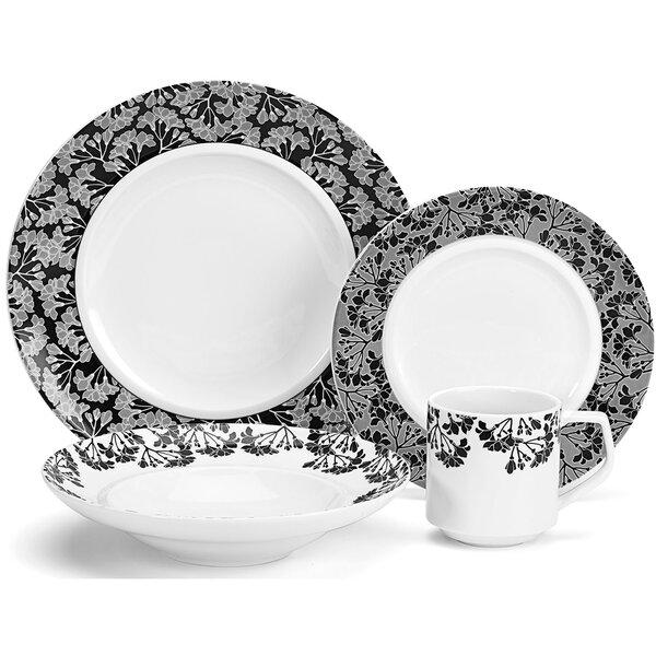 Juine Elite Porcelain 16 Piece Dinnerware Set, Service for 4 by Cuisinart