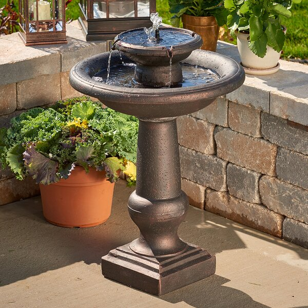 Solar Chatsworth Two-Tier Birdbath by Smart Solar
