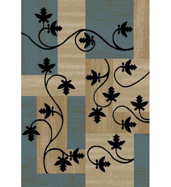 Hinson Leaf Boxes Blue/Light Brown Area Rug by Winston Porter