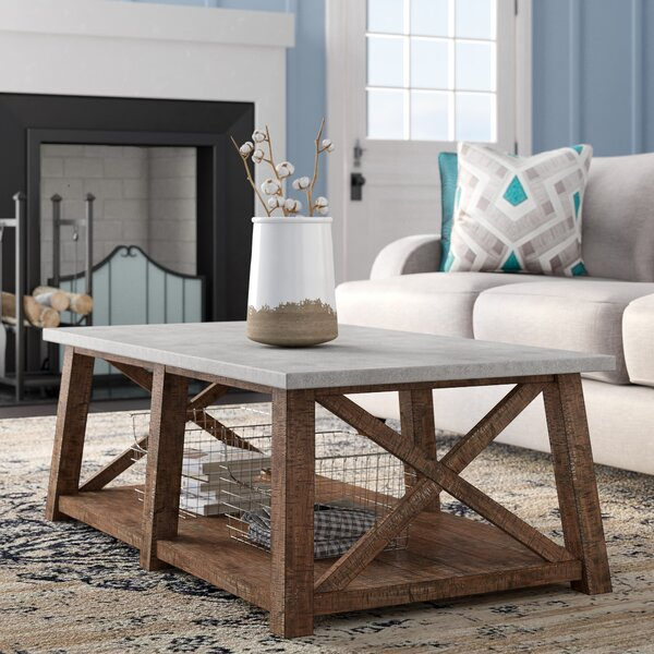 Meredith Solid Wood Cross Legs Coffee Table With Storage By Laurel Foundry Modern Farmhouse