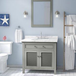 Buy luxury Davisboro Solid Wood 37 Single Bathroom Vanity Set with Mirror ByLaurel Foundry Modern Farmhouse