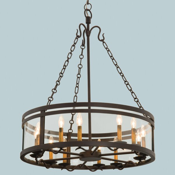 Nyles 12 - Light Candle Style Drum Chandelier By Charlton Home