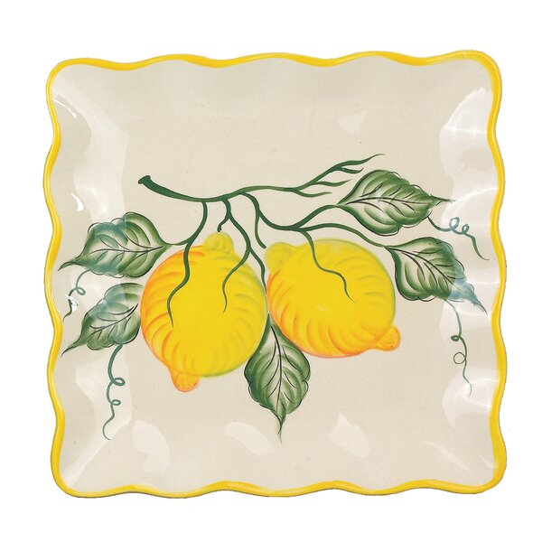 Lemon Design 11 Square Platter by Lorren Home Trends