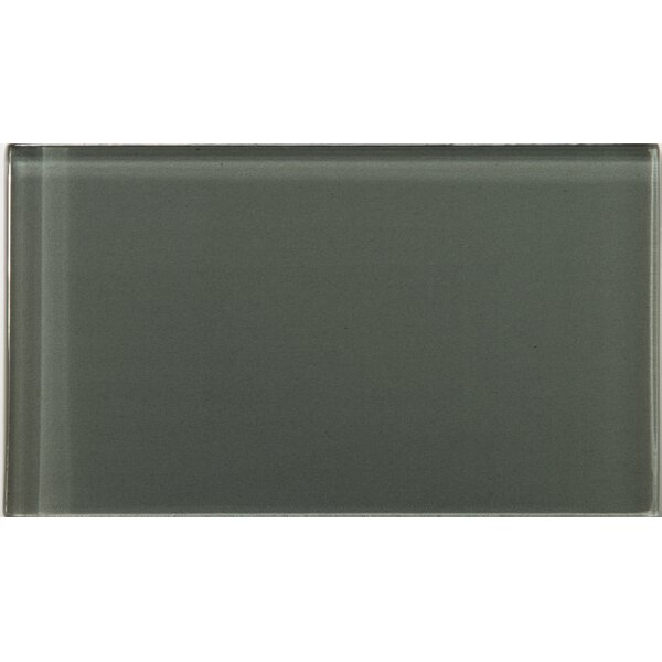 Lucente 3 x 6 Glass Subway Tile in Pewter by Emser Tile