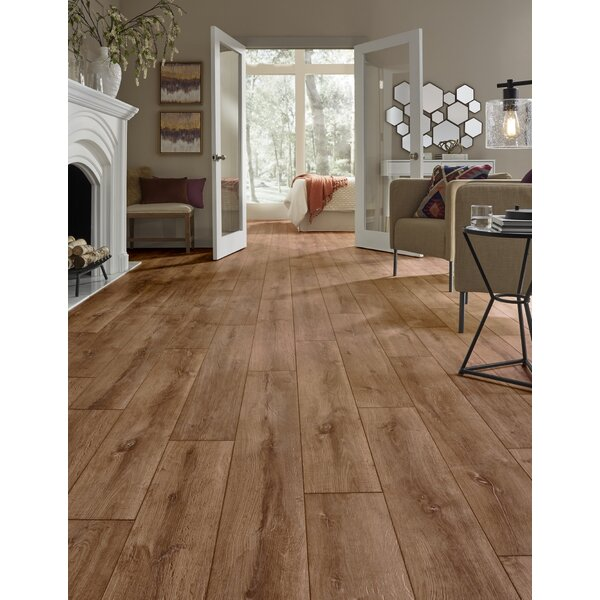 Restoration Wide Plank 8'' x 51'' x 12mm Oak Laminate Flooring in Flame by Mannington