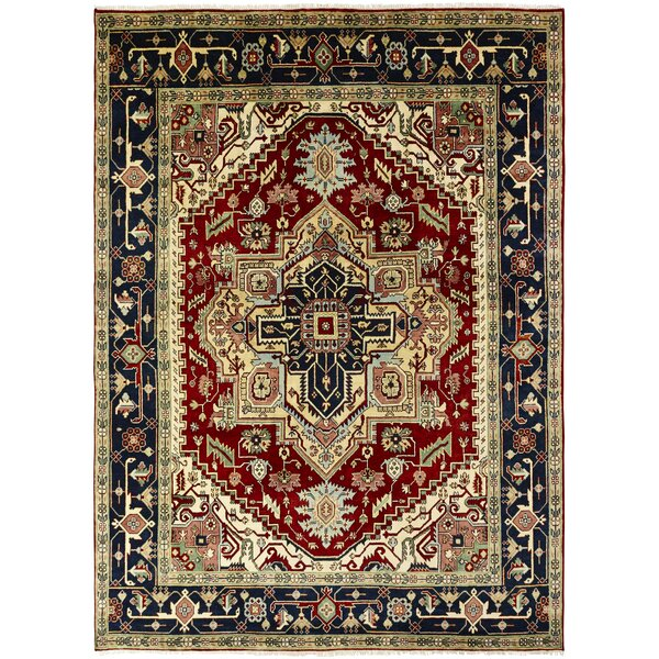 Martina Hand-Knotted Wool Navy Blue/Red Area Rug by Astoria Grand