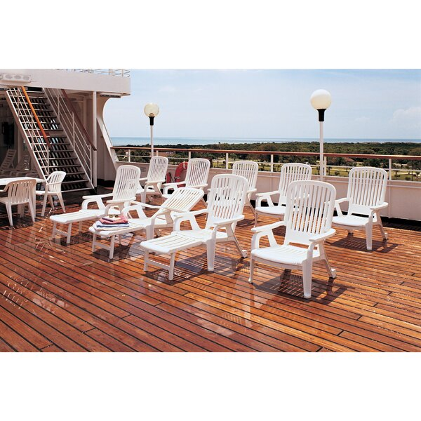 Bahia Stackable Deck Chair in White (Set of 2) by Grosfillex Expert