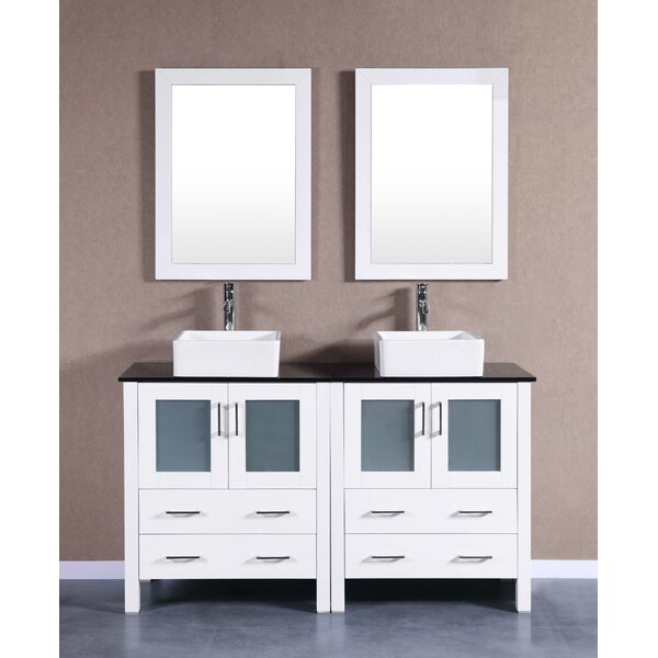 Rioni 59 Double Bathroom Vanity Set with Mirror by Bosconi