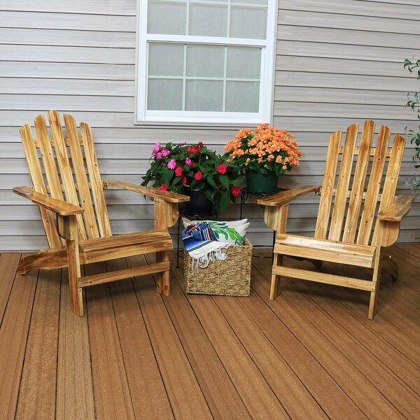 Dziedzic Rustic Solid Wood Adirondack Chair (Set of 2) by Millwood Pines Millwood Pines