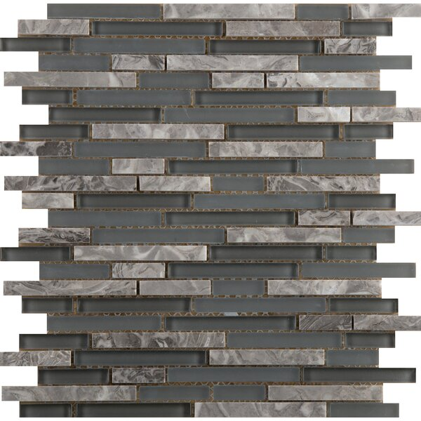 Lucente 12 x 13 Glass Stone Blend Linear Mosaic Tile in Concordia by Emser Tile