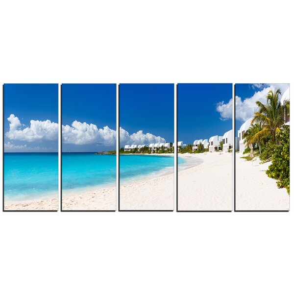 Caribbean Beach Panorama Landscape 5 Piece Photographic Print on Wrapped Canvas Set by Design Art