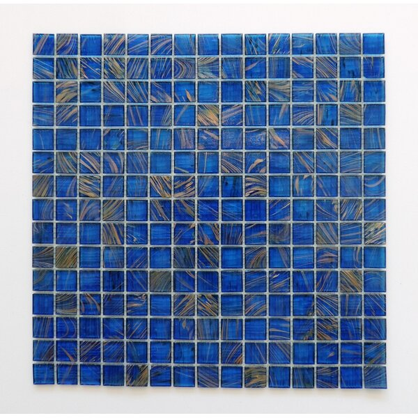 Amsterdam 0.78 x 0.78 Glass Mosaic Tile in Ocean Blue Gold Dust by The Mosaic Factory