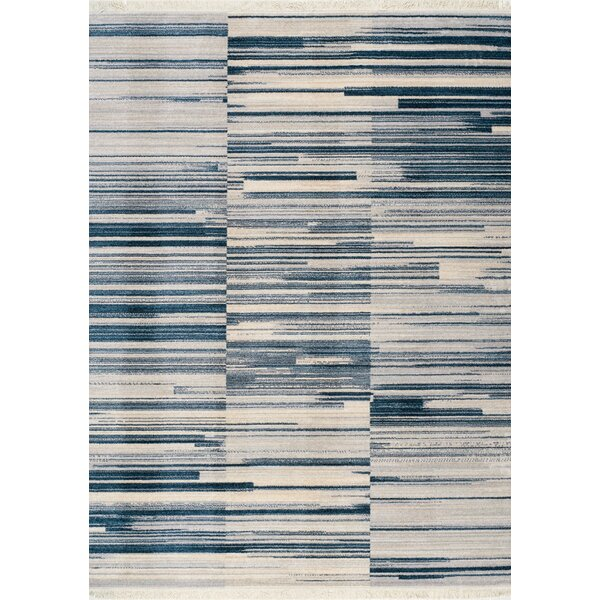 Zephyrine Stacked Stripes Gray/Blue Area Rug by Wrought Studio