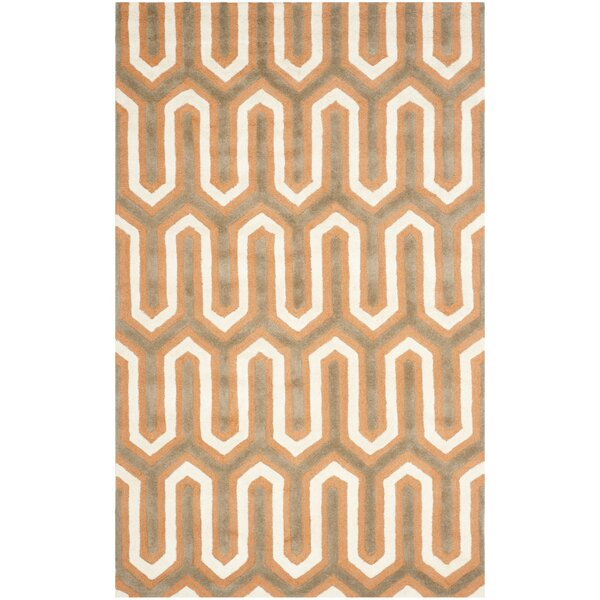 Martins Hand-Tufted Orange/Grey Area Rug by Wrought Studio