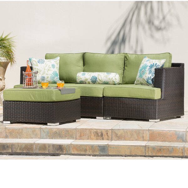 Hallwood 4 Piece Rattan Sectional Seating Group with Sunbrella Cushions by Ivy Bronx Ivy Bronx