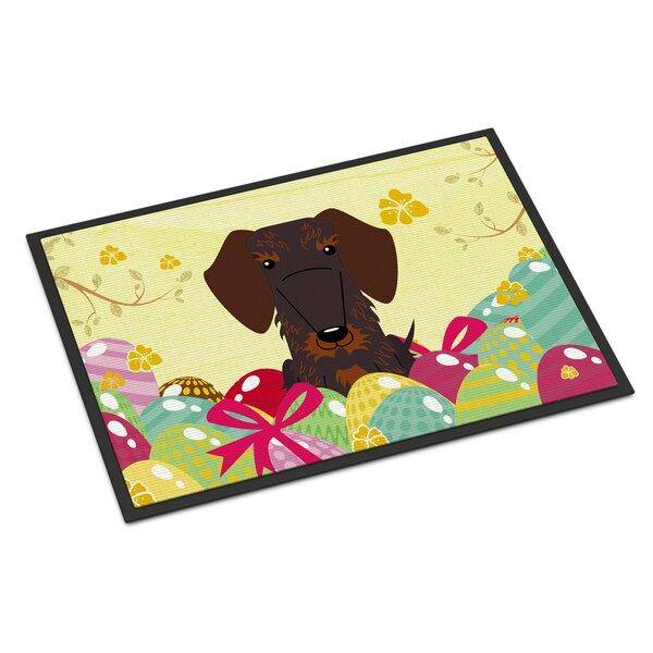 Easter Eggs Wire Haired Dachshund Indoor/Outdoor 36 in. x 24 in. Non-Slip Outdoor Door Mat